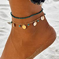 Yean Boho Turquoise Anklet Sequins Ankle Bracelet Fashion Beads Catena gioielli piede per donne e ragazze