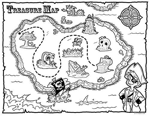 guajolote Prints Schatzkarte Pirat Partyzubehör 12Zählen Färben Blatt 21,6x (Kostüm Ideen Flash)