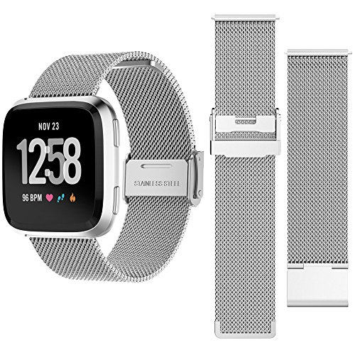 happytop Mesh Fitbit Versa Band Ersatz Edelstahl Uhrenarmband Armband Fitbit Armband, unisex, silber