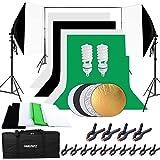 HAKUTATZ® Professionele fotostudio greenscreen set van 4 achtergrondstof (zwart, wit, groen) achtergrondsysteem studiosets 5-