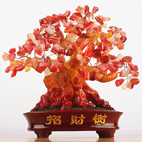CrazySell Geld-Baum, 24,1cm groß, Karneol, grüner Kristall, Feng Shui, Glücksbringer Orange (Carnelian) Glück, Geld, Baum