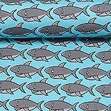 Swafing GmbH - Stoff - Jersey Steinbeck Haie türkis -