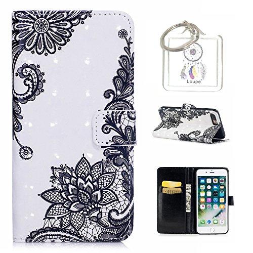 Preisvergleich Produktbild für iPhone 8 Plus / 7 Plus (5.5 Zoll) Hülle, Retro 3D Muster PU Leder Hülle Wallet Case Folio Schutzhülle in mit Standfunktion Karteneinschub und Etui Flip Case Schutzhüllen +Schlüsselanhänger (P) (16)