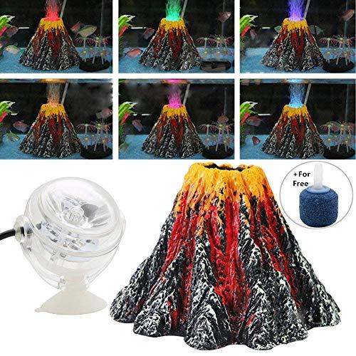 BSGP Aquarium-Dekoration Vulkan mit Luftblasenstein, Bunte LED-Strahler für Aquarien, Größe L (Led-aquarium Vulkan)
