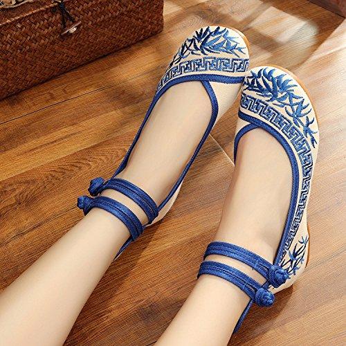 DESY Scarpe ricamate, suola a tendina, stile etnico, scarpe da donna, moda, comodo, casual all'interno dell'aumento Blue