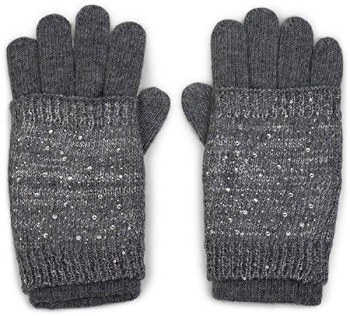 styleBREAKER warme Strickhandschuhe, Fingerhandschuhe mit abnehmbarer Strass und Pailletten besetzter Manschette, doppelter Bund, Handschuhe, Damen 09010006, Farbe:Grau (Pailletten-manschette)