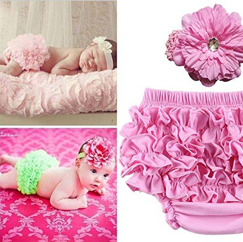 Baby Neugeborenen Kostüm Fotoshooting Babyfotos Haarband mit Rüschen Höschen