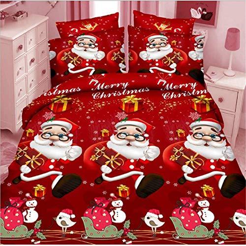 SHJIA 3D Frohe Weihnachten Bettwäsche Set Bettbezug Rot Santa Claus Tröster Bett Set Geschenke Königin König -
