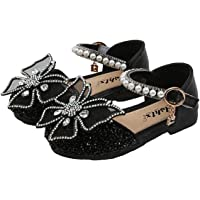 AISHANGYIDE Princess Shoes Girls Low Heeled Glitter Bow Shoes Velcro Sandals Dress Shoes Kids Princess Cosplay Shoes…