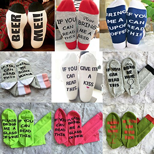 ZooArts® 1 Pair Unisex Adult Men Women Novelty Socks Crazy Cotton Comfortable Breathable Luxury Crew Socks-If You Can Read This