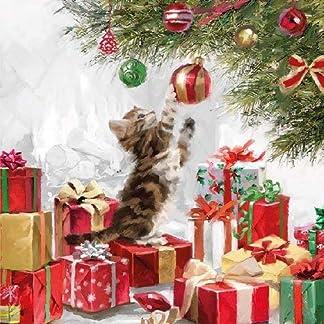 Ambiente servilletas 33cm de gato de Navidad y bolas de Navidad servilletas 33310520