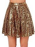 Hohe Taille Glänzend Metallisch Sequin Plissee Plissiertes Mini Minikleid Ausgestellte A-Linie A-Linien Rock Gold M