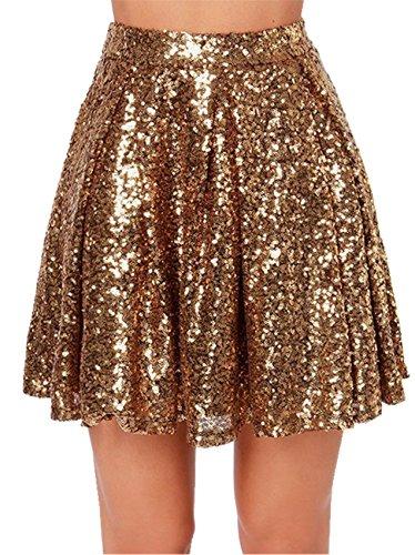 Hohe Taille Glänzend Metallisch Sequin Plissee Plissiertes Mini Minikleid Ausgestellte A-Linie A-Linien Rock Gold S -