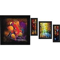 SAF Ganesha UV Coated Home Decorative Gift Item Framed Painting 12 inch X 12 inch+SAF Set of 3 Walking Couple Watercolor…