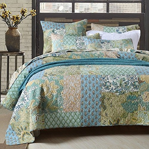 Comforbed Retro Tröster Set Floral Paisley gedruckt Muster 100 Baumwolle Patchwork Tagesdecken Quilt Sets King Size (Chenille-patchwork-bettdecke)