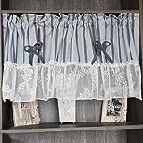 Bestickte Kaffee Vorhang Bistrogardine Küchengardine Scheibengardine,blau BxH 130x60cm