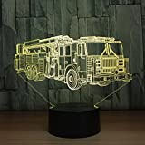 3D Die feuerwehr Optische Illusions-Lampen, Tolle 7 Farbwechsel Acryl berühren Tabelle Schreibtisch-Nachtlicht mit USB-Kabel für Kinder Schlafzimmer Geburtstagsgeschenke Geschenk