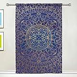 TIZORAX Vorhang für Fenster, orientalisches Muster, Hippie-Mandala, transparent, für Küche, Wohnzimmer oder Kinderzimmer, 139,7 cm B x 198 cm L, Polyester, Multi, 55