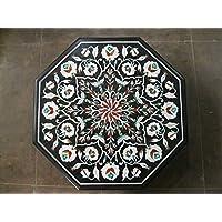 23Nero Marmo tavolo semi preziosa pietra intarsiato Octangle forma Tavolino Divano Tavolino Home Decor