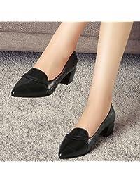 Jqdyl Tacones Zapatos de mujer Primavera Otoño Zapatos Mujeres con boca gruesa puntiaguda superficial, Negro, 36