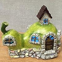 Magical Pera Pietra casa e giardino con luce a LED per interni, funzionamento a batteria elfo fata Pixie Home H10cm