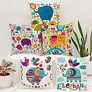 STITCHNEST Unique Cute Elephant Cartoon Blue Printed Canvas Cotton Cushion Covers, Set of 5