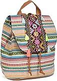 styleBREAKER Rucksack Handtasche Ethno Style mit Stickung, Perlen und Quasten, Tasche, Damen 02012246, Farbe:Mehrfarbig