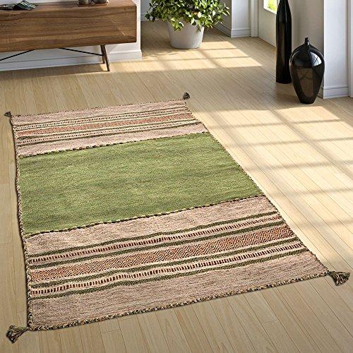 Paco Home Designer Teppich Webteppich Kelim Handgewebt 100% Baumwolle Modern Gemustert Grün, Grösse:80x150 cm - Kelim Teppiche Teppiche