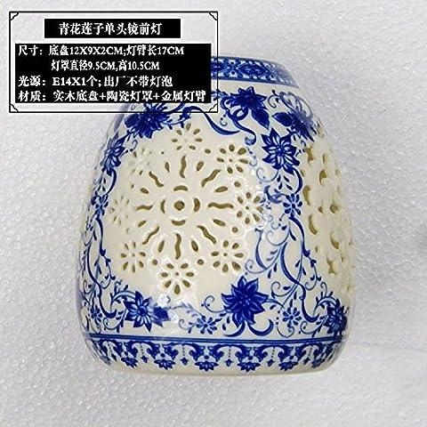 XiangMing Il cinese prima lo specchio in ceramica lampada luci da parete camera da letto in legno luci a parete comodinoIl LedIl bagno specchio contenitore blu chiaro,Verde semi di loto e longan Testa singola