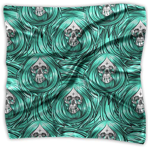 Womens Girl's Skull With Blue Long Hair Print Square Kerchief Scarf Head Wrap Neck Satin Shawl