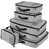 Savisto Packing Cubes, 6-teiliges Packtaschen Set für Urlaub, Reisen, Flugreisen - Ordnungssystem für Koffer, Handgepäck, Trolley, Reisetasche und Rucksack - Packwürfel in 7 Farben - Grau