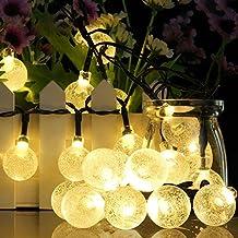 Guirnalda de Luces Solar exterior Cadena de luce 6M 30 LED Easternstar, Bola de cristal, 2 Modo Iluminación, Impermeable y plegable, utiliza en Casa, Jardín, Navidad, Cumpleaños. Color Blanco Cálido