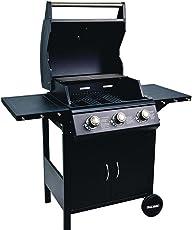BAKAJI Barbecue a Gas Professionale sistema Pietra Lavica BBQ 3 Fuochi Acciaio con ruote Termometro Integrato