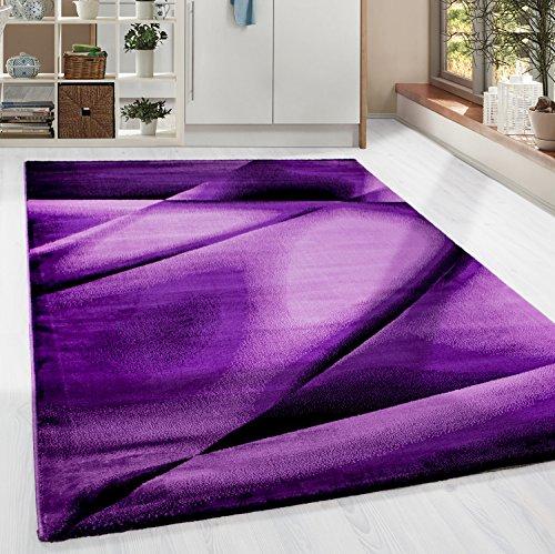 HomebyHome Kurzflor Guenstige Teppich modern geometrisch Lienien Schatten Muster Schwarz Lila Pink meliert 5 Groessen Wohnzimmer, Gästezimmer, Flur, Schlafzimmerm, Kueche, Läufer, Größe:160x230 cm - Lila Und Schwarz Teppich