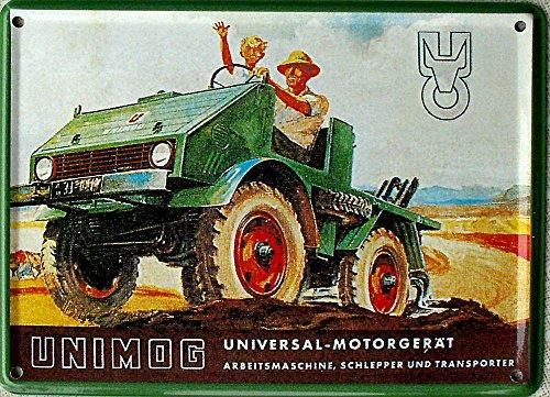 Mini-Blechschild Unimog, 11 x 8 cm