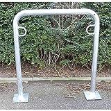 Melzer Metallbau Fahrradanlehnbügel, 850 mm über Flur - zum Aufdübeln, feuerverzinkt - U-förmig, Länge 750 mm - Anlehnbügel für Fahrräder Bügelparker Fahrradanlehnbügel Fahrräderständer