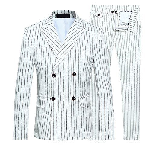 Mens Double Breasted Wedding Suit Slim Fit Pinstripe 3 Piece Vintage Fashion