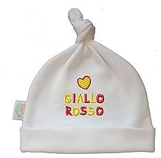 Zigozago - Babymütze mit Knoten. Er Hat die Stickerei Cuore GIALLOROSSO - Größe 0-6 Monate