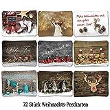 Logbuch-Verlag Weihnachtskarten Set mit 72 Stück Weihnachts-Postkarten...