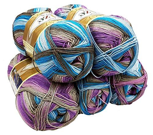 ALIZE 5 x 100 Gramm Diva Batik Wolle Mehrfarbig mit Farbverlauf, 500 Gramm merzerisierte Strickwolle Microfiber-Acryl (Flieder Blau Grau weiß 5553)