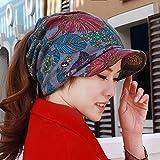 LIUXINDA-MZ Hat, Female Nationality, Wind, Multi-Functional Scarf Cap, Baotou Ear Cap, Soft Edge, Personalized Cap, Cap,Gules