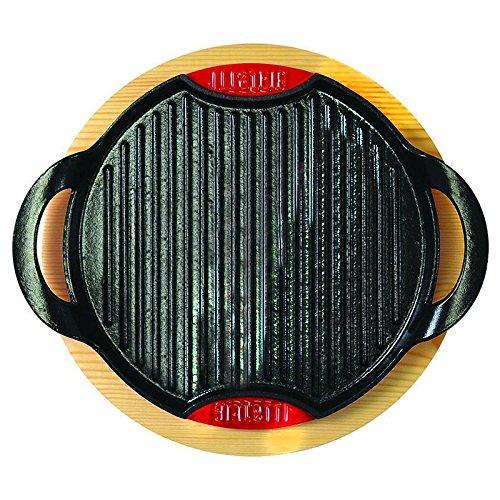 Bialetti 0LTGG028-Griglia per cottura a induzione, in ghisa smaltata e supporto da tavolo in legno e alluminio, colore: nero, alluminio, nero, 28x28x4 cm