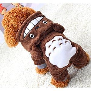 Xiaoyu Welpe Hundehund Haustier Kleidung Kapuzenjacke Pullover warmer Pullover Welpe Welpe Herbst Wintermantel Doggy Mode Overall Jumpsuit Bekleidung, braun, L