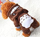 Xiaoyu Welpe Hundehund Haustier Kleidung Kapuzenjacke Pullover warmer Pullover Welpe Welpe Herbst Wintermantel Doggy Mode Overall Jumpsuit Bekleidung, braun, L