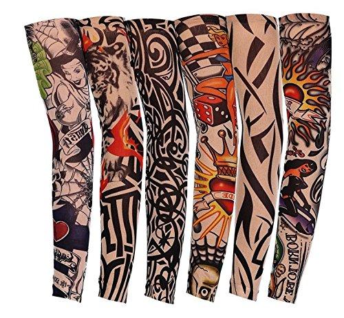 Lomire 6 Pcs Manguitos de Nylon Elástico Tatuaje Mangas Brazo UV protección Solar del Verano 40CM