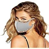 YpingLonk 1 Pc Unisex Lentejuelas Adultas Bufanda Ajustable Universal 3ply Suave elástico Earloop Bufanda de Moda para Mujere