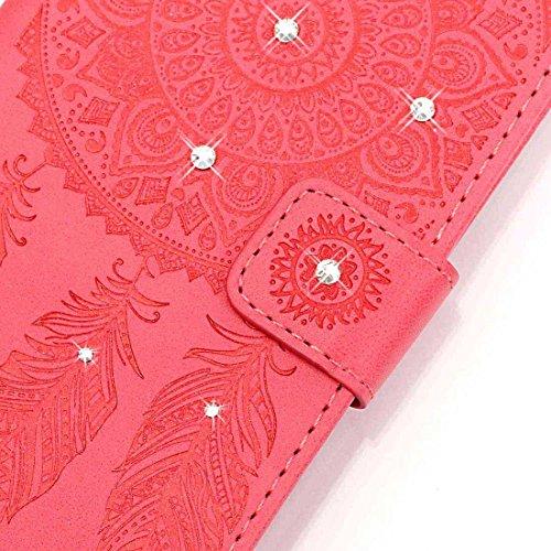 iPhone 7 Coque ( Blanc ), Bling Cristal Strass Cuir Etui Rabat Style Portefeuille Case Avec Carte Slots pour Apple iPhone 7 4.7 inch Avec Windbell Embossage Motif rouge