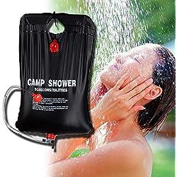 Bolsa de ducha para senderismo y camping, de PVC con calefacción solar, ligera y portátil. De Zoeson, 20 litros