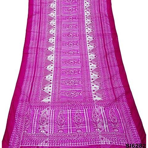 Las Mujeres Indias Nave De La Vendimia Sari Envuelven Mezcla De Seda Blanca Y Rosa Caída De Flores De Tela Reciclada Sari De Material De Bricolaje
