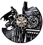 Batman Dark Knight Hero Arkham City DC Comics Personajes de película Vinyl Record Design Reloj de pared - Decora tu hogar con Modern Famous Batman Dark Knight Story Art - El mejor regalo para él o ella Hombres papá Navidad